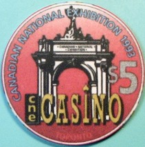 $5 Casino Chip. CNE, Ontario, CAN. National Exhibition 1993. S46. - $6.99