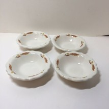 "4 Dessert Bowls Homer Laughlin Best China Brown Leaves Restaurant Ware 4.75"" - $24.18"