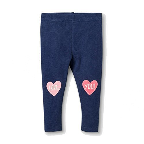 Primary image for Baby Girls' Love You Leggings -Elastic Band - hearts -Navy. 6-9 Months