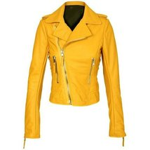 Yellow Women Brando Biker Leather Jacket - $215.00