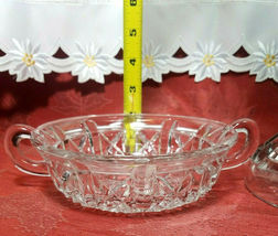 Vintage Clear Pressed Glass Clear Covered Candy Dish With Handles image 6