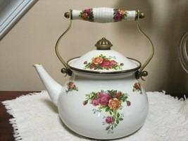 "Rare 1962 Royal Albert China ""Old Country Rose"" Enamel Hot Water Tea Pot... - $29.70"