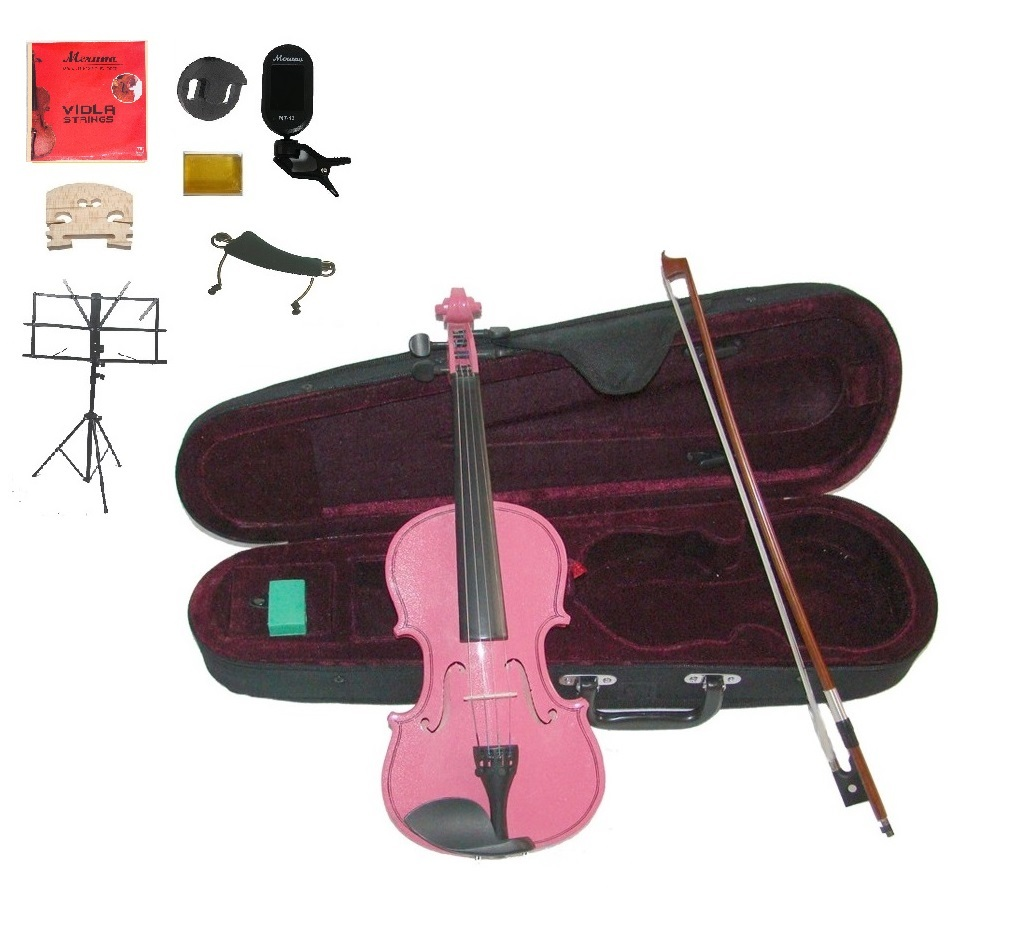 """Merano Acoustic 11"""" PINK Student Viola,Case,Bow & Much More"""