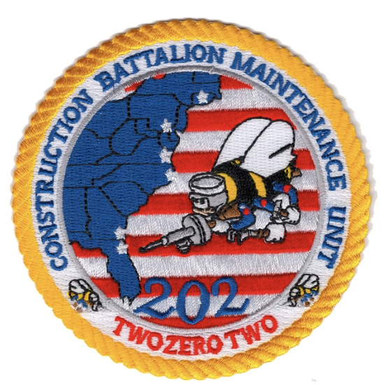 "Primary image for 4"" NAVY 202 CBMU CONSTRUCTION BATTALION MAINTENANCE UNIT EMBROIDERED PATCH"