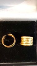 1 x pair solid bronze  ear cuffs , lined effect ear clips can be worn anywhere o image 2
