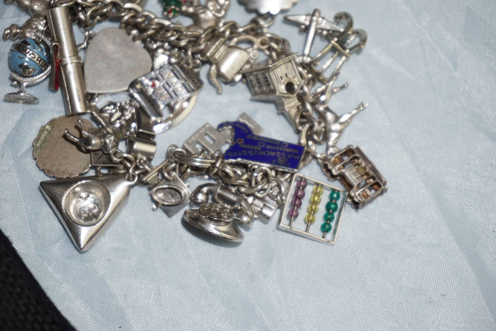 479ed26e03a Sterling Charm Bracelet 28 Charms Film Reel, Tree of Life, Paul Revere  Style Hat