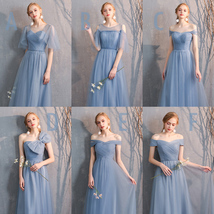 Floor Length Maxi Bridesmaid Dresses Tulle Wedding Dress Light Gray Off Shoulder image 10