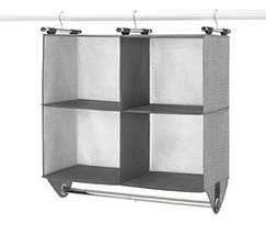 Whitmor 4 Section Fabric Closet Organizer Shelving with Built In Chrome Garment - $34.47