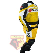 SUZUKI GSX-R YELLOW MOTORBIKE MOTORCYCLE COWHIDE LEATHER ARMOURED 2 PC SUIT - $339.99