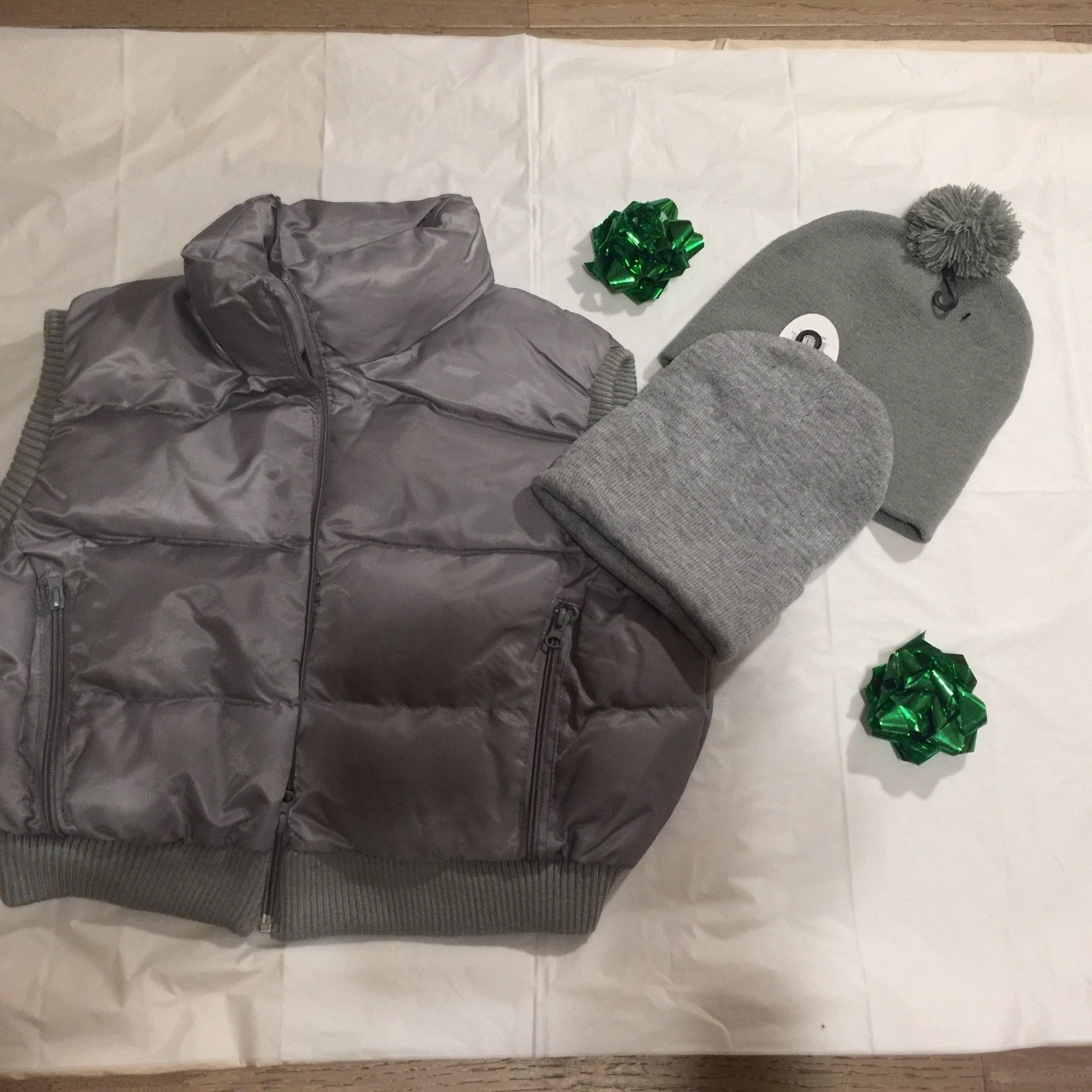 FINAL SALE Spring Cropped Puffed Vest and Hat Set S/M/L PLUS FREE GIFT