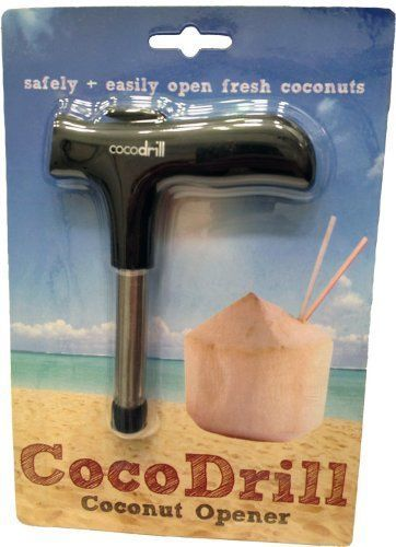 CocoDrill Young Coconut Opening Tool Punch Tap Knife Opener for Raw Coco Water