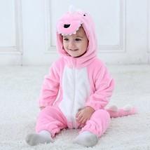 Baby Flannel Pink Dinosaur Romper Newborn Hooded Jumpsuit Hoodie Sleepwear - $36.80+