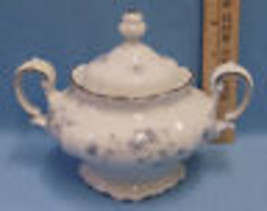 Johann Haviland Bavaria Germany Covered Lidded Sugar Bowl Blue Garland F... - $18.80