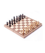 Chess Board Vintage Set Hand Wooden Box Game Folding Wood Carved Pieces ... - $24.74