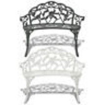 vidaXL Garden Bench Chair Porch Park Aluminum Outdoor Antique Seat White... - $96.99+