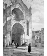 ITALY Verona Cathedral Western Portal - SUPERB 1843 Antique Print - $39.60