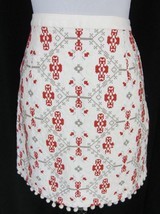 Maeve Anthropologie Skirt size 6 Ivory Spice Cross Stitch Pom Poms Above... - $37.97