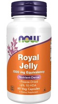 Royal Jelly 60 Caps 1500mg by Now Foods Kosher Freeze Fried min. 6% 10-HDA - $13.85