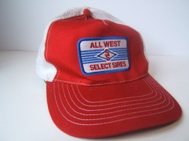 All West Select Sires Farmer Patch Hat Vintage Red Snapback Trucker Cap - $61.48