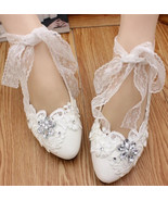 Women Ribbon Style Bridal Ballet Flats/Wedding Flat Shoes with Lace Anke... - $38.00