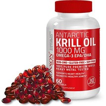Antarctic Krill Oil 1000mg with Omega-3s EPA, DHA and Astaxanthin-60 sof... - $24.50