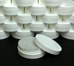 25 Cosmetic Containers Low Profile Wide Mouth White Jars Lid Liner 1 oz.... - $65.95