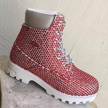 Men's White | Red Fashion Rhinestones Boots - $899.00