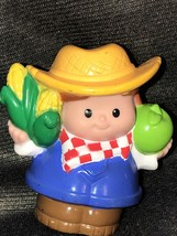 Fisher Price Little People Farm Farmer Jed with Checkered Corn & Apple - $10.89