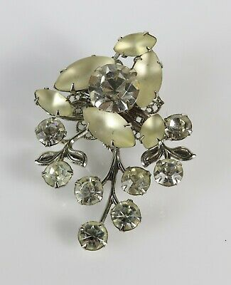 Costume Fashion Frosted Teardrop Multi Faceted Rhinestone Brooch Pin Earring Set