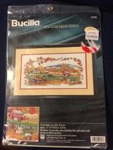 "Bucilla ""Autumn on the Farm"" Counted Cross Stitch Kit -1997 - New Sealed in Pkg. - $69.99"