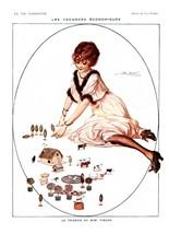 French Pinups: La Vie Parisienne - Girl w /Mini Farm  - Fontan - 1917 - $12.95+