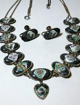 VINTAGE ENAMEL PERSIAN ANTIQUE NECKLACE SCENIC PANELS & EARRINGS SET - $95.00