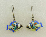 TROPICAL FISH Colorful Enamel Sterling Silver Vintage Drop Dangle EARRINGS