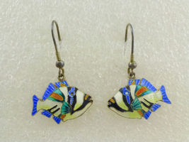 TROPICAL FISH Colorful Enamel Sterling Silver Vintage Drop Dangle EARRINGS - $75.00