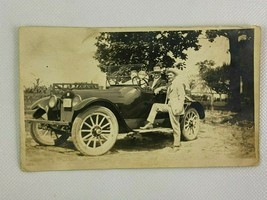 Man Standing By Car Couple Hat Suit Vintage B&W Photograph Snapshot 3.25... - $19.79