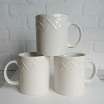 "Set of 3 Picnic by Oneida White Coffee Mug Cup Embossed Basket Weave 3.75"" - $19.99"