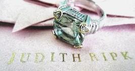 Judith Ripka 925/18K Gold Prasiolite W Diamond Accent RING Size 6 JR PIN... - $224.95