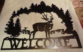 Large Deer Welcome Sign Metal Wall Art Home Decor Copper Vein - $60.00