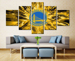 Large Framed Golden State Warriors Canvas Print Home Decor Wall Art Five... - $118.79