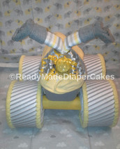 Yellow and Grey Elephant Theme Baby Shower Four Wheeler Diaper Cake - $57.00