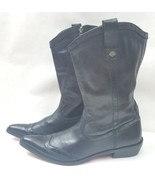 Harley Davidson Womens Boots Pointed Toe Black Leather Zipper Biker Boot... - $67.83