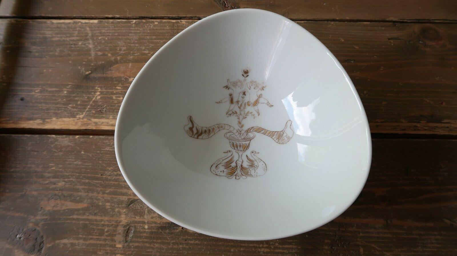Primary image for Rosenthal Germany Bele Bachem White and Gold Triangle Bowl 7.5""