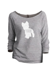 Thread Tank Yorkie Terrier Dog Silhouette Women's Slouchy 3/4 Sleeves Raglan Swe - $24.99+