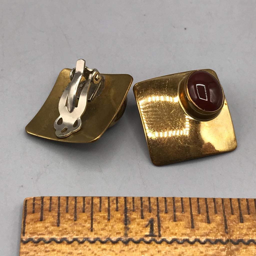 Vintage Ken Gastineau Signed Gold Tone Clip On Earrings Jewelry Mid Century