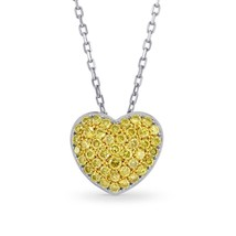 0.43Cts Pave Pendant Necklace Set in 18K White Yellow Gold - $2,593.80