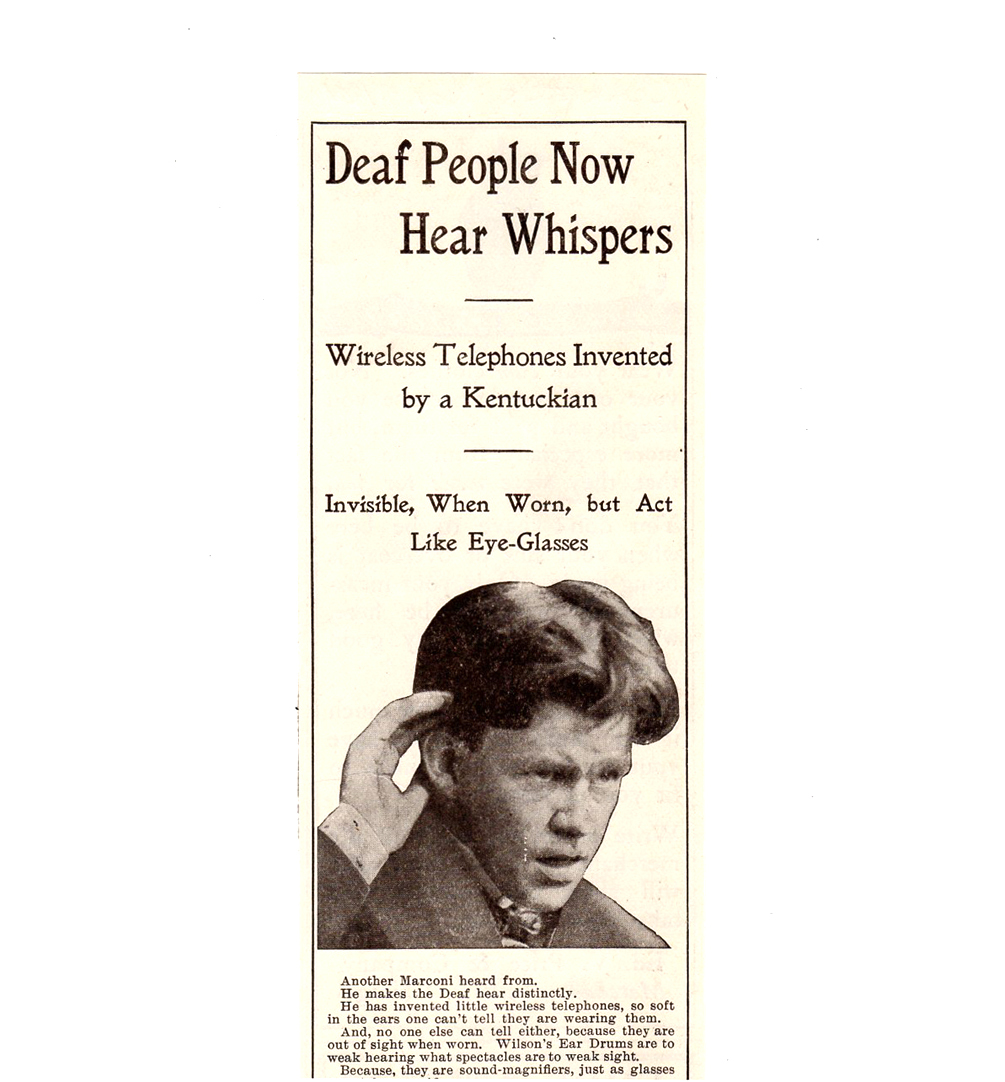 Primary image for 1904 Wilson Ear Drum AD Deaf People Now Hear Whispers Medical Advertisement