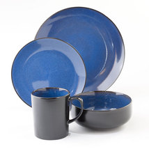 GIBSON Novabella Cobalt Blue/black 16 Piece Dinnerware SET - $92.99