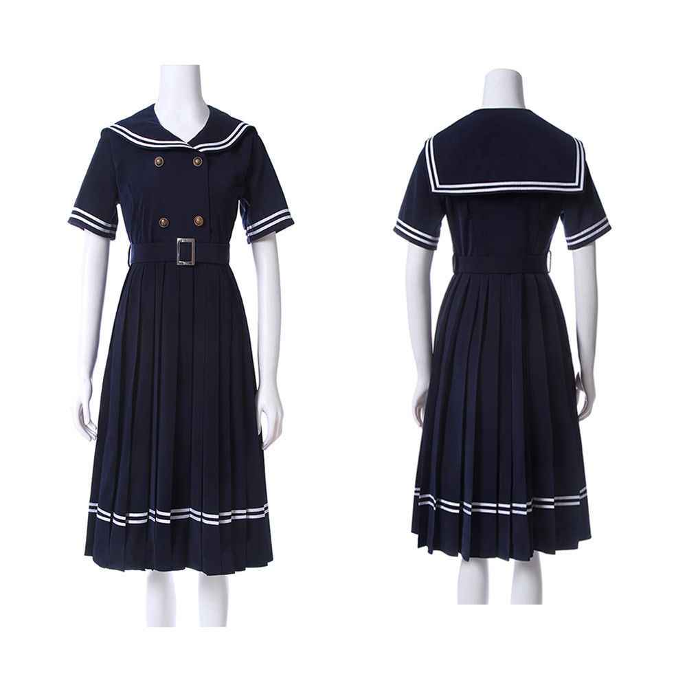 Primary image for Janpanese JK School Uniform Girls Sailor Navy Blue Short Sleeve Pleated Dress