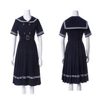 Janpanese JK School Uniform Girls Sailor Navy Blue Short Sleeve Pleated ... - $45.99