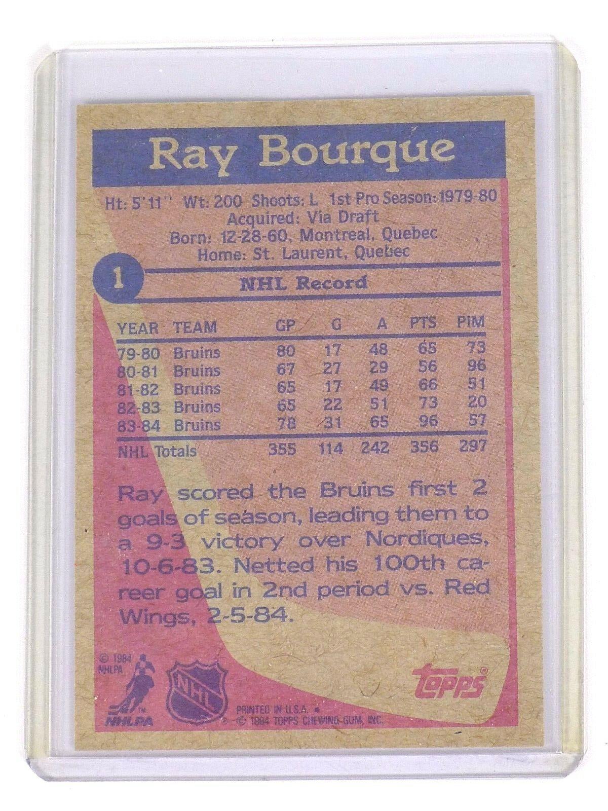 1984 Topps #1 Ray Bourque Hockey Card